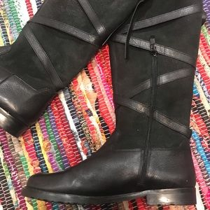 Via Spiga Black Leather Riding Boots 9 Shearling